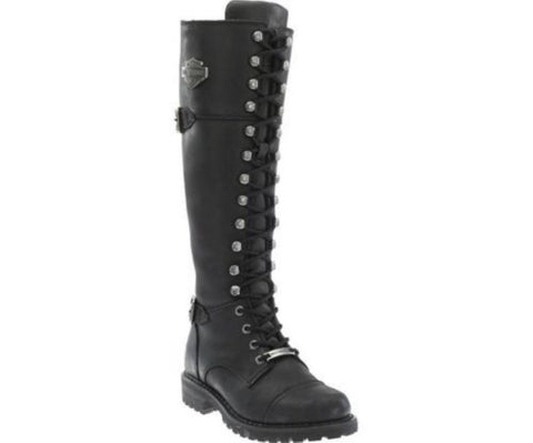 Harley Davidson Ladies Beechwood Biker Boots Black Leather Lace Up Zip Motorbike - BOOTSANDLEATHER