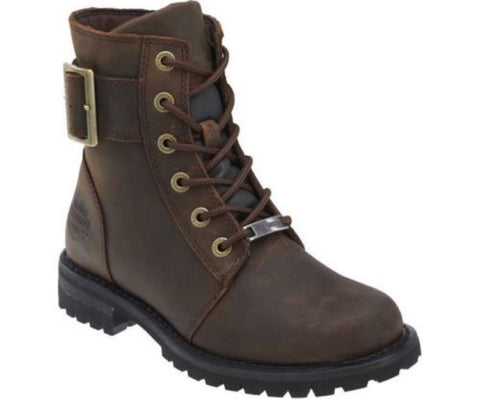 Harley Davidson Sylewood Brown Leather Biker Boots Ladies Lace Up Ankle Boot - BOOTSANDLEATHER