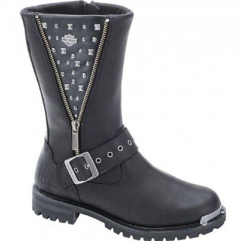 Harley Davidson Tanya Ladies Biker Boots Black Leather Zip Buckle Motorbike - BOOTSANDLEATHER