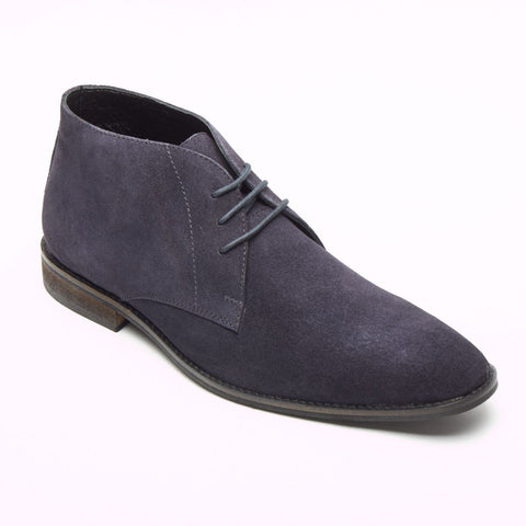 Lucini Men Blue Navy Suede Lace Up Desert Chukka 3 Eyelet Boots Chisel Toe - BOOTSANDLEATHER