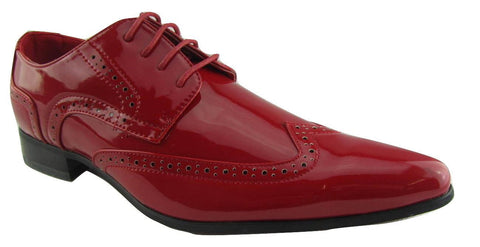 Rossellini Prato Z2 Mens Shoes Lace Up Brogue Red Patent Pointed Casual Shoe - BOOTSANDLEATHER