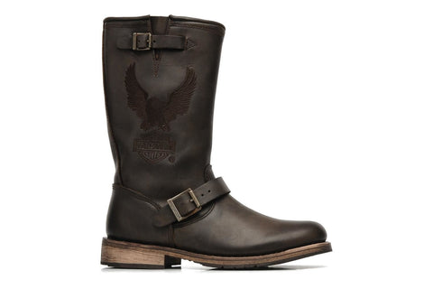 Harley Davidson Clint Mens Brown Eagle Leather Condctor Biker Zip Boots Original - BOOTSANDLEATHER