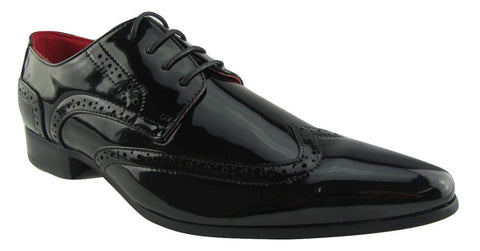 Rossellini Prato Z2 Mens Shoes Lace Up Brogue Black Patent Pointed Casual Shoe - BOOTSANDLEATHER