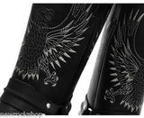 Grinders New Unisex Bald Eagle Boot Black Biker Cowboy Western Leather Boots - BOOTSANDLEATHER