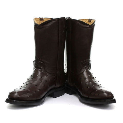 Grinders New Mens Vegas Boot Brown Biker Cowboy Western Leather Boots - BOOTSANDLEATHER