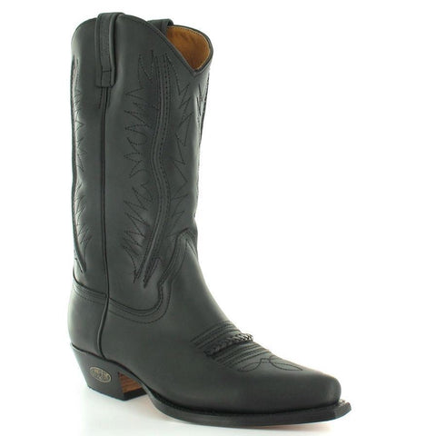Loblan 2616 Black Waxy Leather Cowboy Boots Hand Made Classic Biker Western 206 - BOOTSANDLEATHER