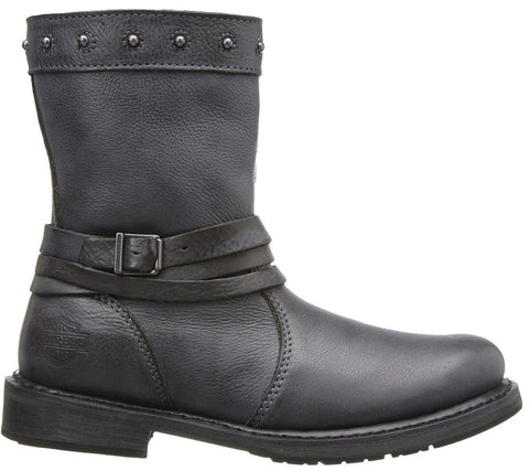 Harley Davidson Ladies Mandy Grey Slate Leather Boot  Biker Boots Straps Rider - BOOTSANDLEATHER