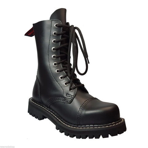 Angry Itch 10 Hole Combat Boots Black Leather Army Ranger Steel Toe Punk - BOOTSANDLEATHER