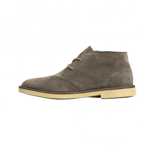 Hey Dude Torino 2 Eye Men Boots Desert Bruno Grey Suede Winter Boots White Sole - BOOTSANDLEATHER