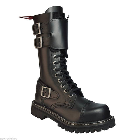 Angry Itch 14 Hole Gothic Punk Black Buckle Leather Ranger Boots Steel Toe Zip - BOOTSANDLEATHER