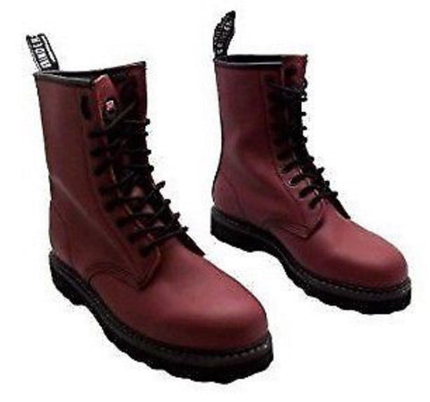 Grinders Albert Red Cherry Leather Combat Boots 10 Eyelet  Derby Boot Punk - BOOTSANDLEATHER