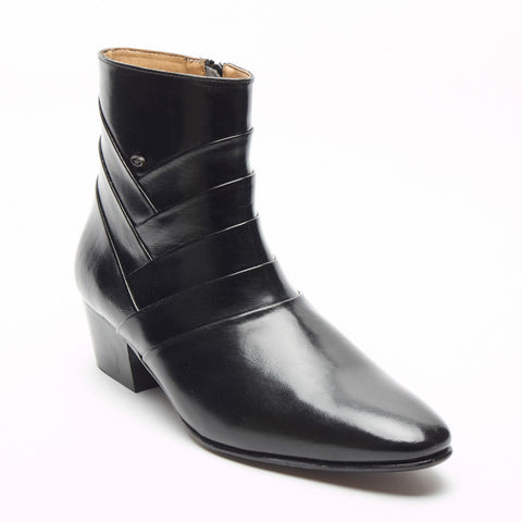 Mens Formal Lucini Cross Leather Cuban Heel Black Wedding Ankle Boots Zip Up - BOOTSANDLEATHER