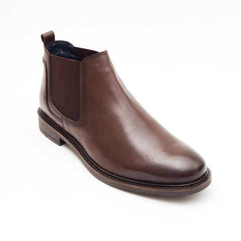 Lucini Formal Men Brown Leather Formal Chelsea Slip-On Boots Wedding Office - BOOTSANDLEATHER