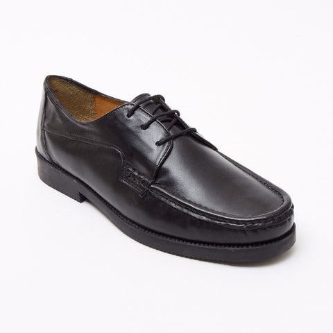 Lucini Formal Men Black Sheep Leather 3 Eyelet Comfort Shoes Wedding Office Work - BOOTSANDLEATHER