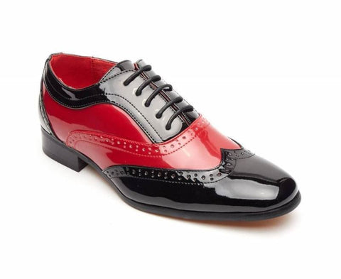 Rossellini Borsalino Mens Shoes Lace Up Brogue Black Red Pointed Casual Shoe - BOOTSANDLEATHER