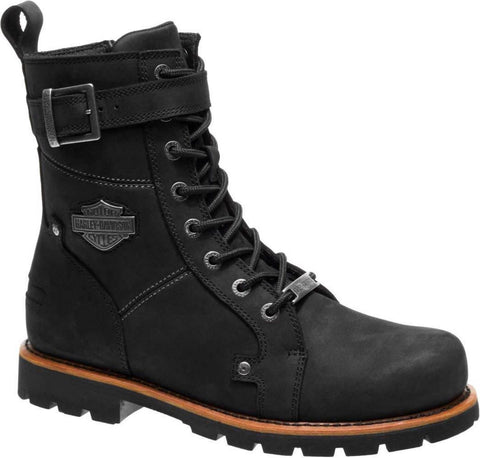 Harley Davidson WICKSON  Men Black Leather Biker Boots Rock Buckles Lace Up - BOOTSANDLEATHER