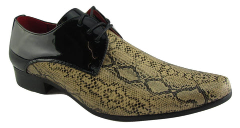 Rossellini Retalino Mens Shoes Tan Beige Faux Snake Black Patent Lace Up - BOOTSANDLEATHER