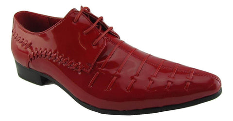 Rossellini Prato Z3 Mens Shoes Lace Up Red Patent Pointed Casual Shoe - BOOTSANDLEATHER