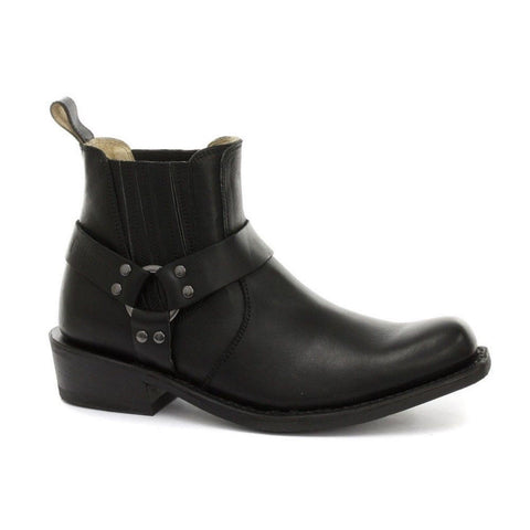 Grinders Rare Waxy Renegade Low Unisex Biker Black Leather Western Boots - BOOTSANDLEATHER