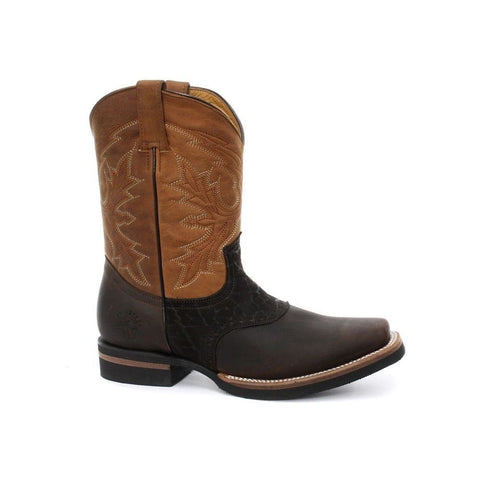 Grinders New Unisex Frontier Brown Biker Cowboy Western Leather Boots - BOOTSANDLEATHER