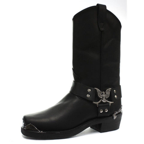 Grinders New Eagle High Cowboy Biker Black Leather Boots Western High Quality - BOOTSANDLEATHER