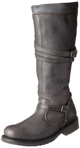 "Harley Davidson Ladies Womens Cyndie 15"" Strap Slate Leather Studs Biker Boots - BOOTSANDLEATHER"