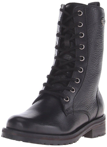 Harley Davidson Ladies Kenova Black Leather Lace Up Boot Biker Combat Boots - BOOTSANDLEATHER