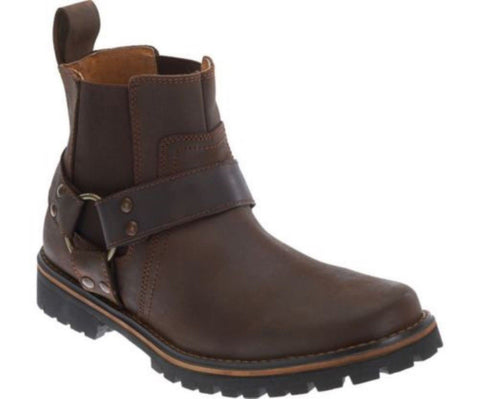 Harley Davidson Duran Men'S Biker Boots Brown Leather Ankle Boot Slip On - BOOTSANDLEATHER