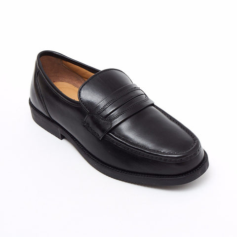 Lucini Formal Men Black Leather Mocassin Heels Shoes Slip On Wedding Loafer - BOOTSANDLEATHER