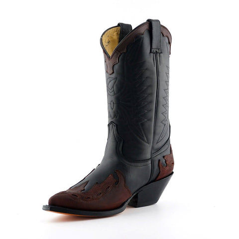 Grinders Arizona Black Burgundy Cowboy Western Leather Knee High Biker Boots - BOOTSANDLEATHER