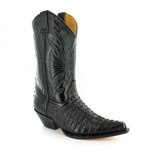 Grinders Carolina Crocodile  Black Western Leather Boots High Pointed Toe - BOOTSANDLEATHER