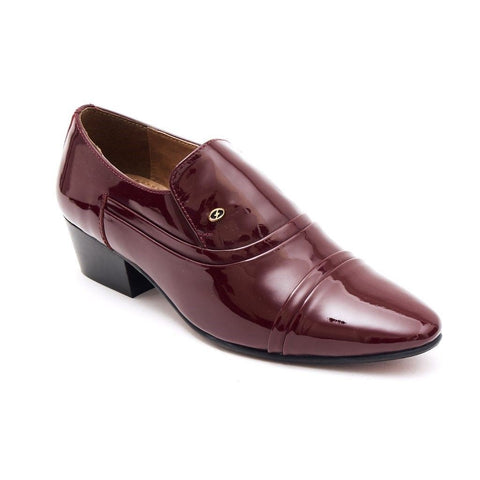 Lucini Formal Mens Cuban Heels Real Leather Slip On Wedding Shoes Bordo Patent - BOOTSANDLEATHER