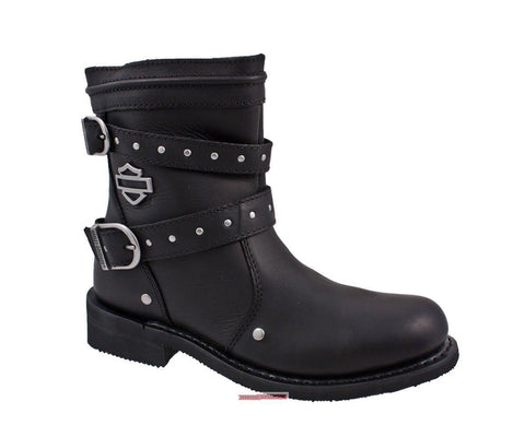 Harley Davidson Women'S Chryse Black Leather 6.5-Inch New Motorcycle Boots - BOOTSANDLEATHER