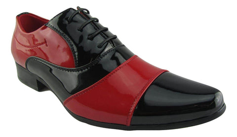 Rossellini Marco Mens Shoes Black Red Patent Lace Up Casual Shoe - BOOTSANDLEATHER