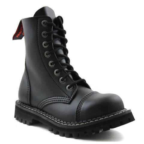 Angry Itch Vintage Black Leather Combat Boots 8 Hole Punk Army Steel Toe - BOOTSANDLEATHER