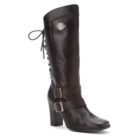 Harley Davidson Shelia Ladies Leather Biker Boots Bike Black Motorbike - BOOTSANDLEATHER