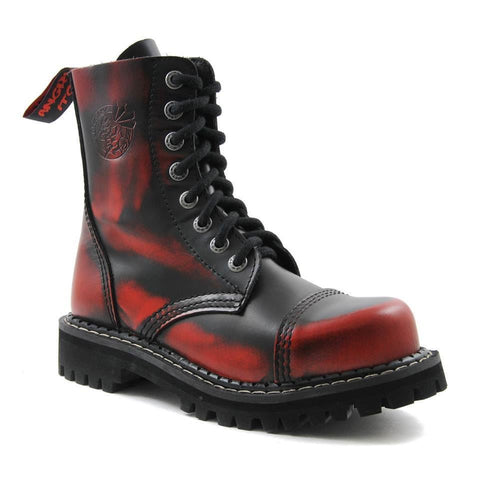 Angry Itch 8 Hole Black Leather Red Rub Off Combat Boots Army Ranger Steel Toe - BOOTSANDLEATHER