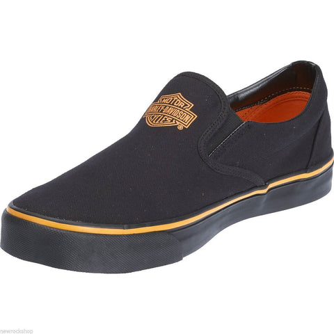Harley Davidson Genuine Marchmont Black  Mens Biker Slip On Relax Shoes - BOOTSANDLEATHER