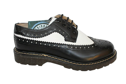 Grinders New Bertrum Black And White Leather American Brogue Air Cushioned Soles - BOOTSANDLEATHER