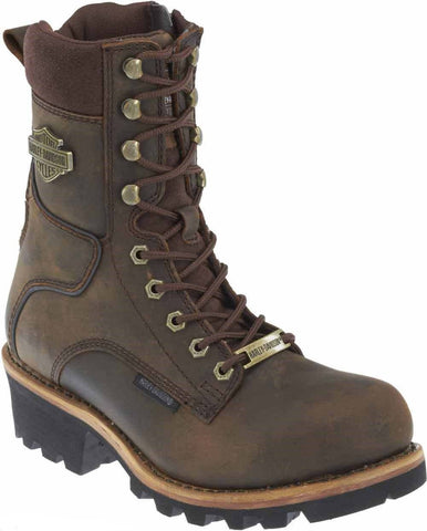 Harley Davidson Tyson Brown Leather Men'S Biker Boots Riding Hiking Vibram Sole - BOOTSANDLEATHER