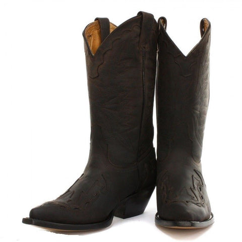 Grinders Arizona Cowboy Western Brown Leather Boots Knee High Boot - BOOTSANDLEATHER