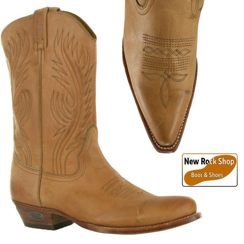 Loblan 194 Tan Beige Leather Cowboy Boots Handmade Classic Men'S Western Boot - BOOTSANDLEATHER
