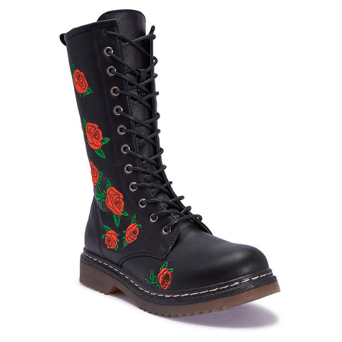 Truffle Buk 80 Red Embroiled Floral Mid High Vegan Combat Black Boots - BOOTSANDLEATHER