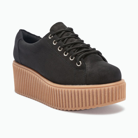Truffle Dino 01 Black Creepers Lace Up Platforms Ladies Trainers Shoes - BOOTSANDLEATHER