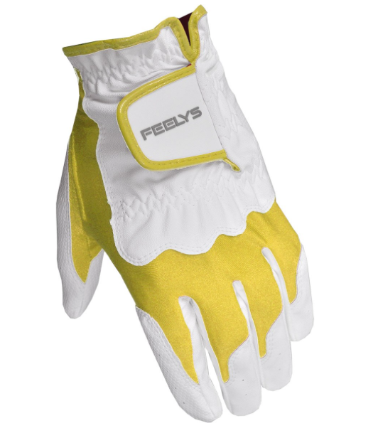 Feel Fit Women's Glove Left Hand S/M White/Yellow By Feelys Golf