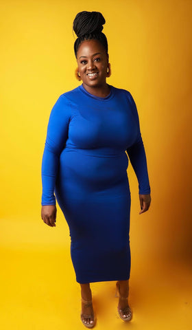 Simply Fierce Dress In Blue - EnChantes Closet Plus Size Boutique