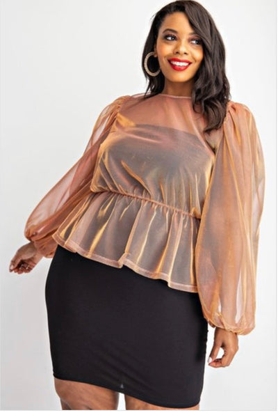 Copper Sheer Peplum Shirt - EnChantes Closet Plus Size Boutique