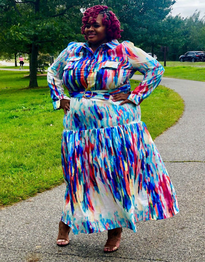 Spectrum Maxi Dress In Plus - EnChantes Closet Plus Size Boutique