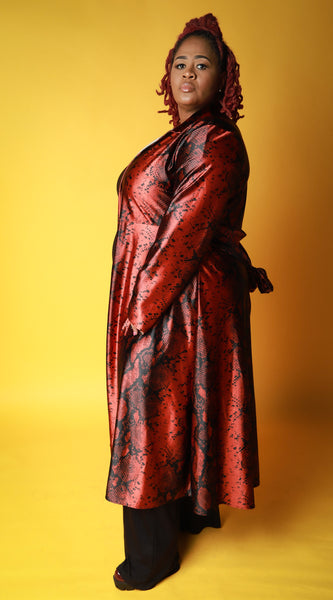 Pythoni Trench In Red - EnChantes Closet Plus Size Boutique