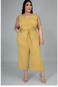 Misti Jumpsuit in Light Yellow - EnChantes Closet Plus Size Boutique